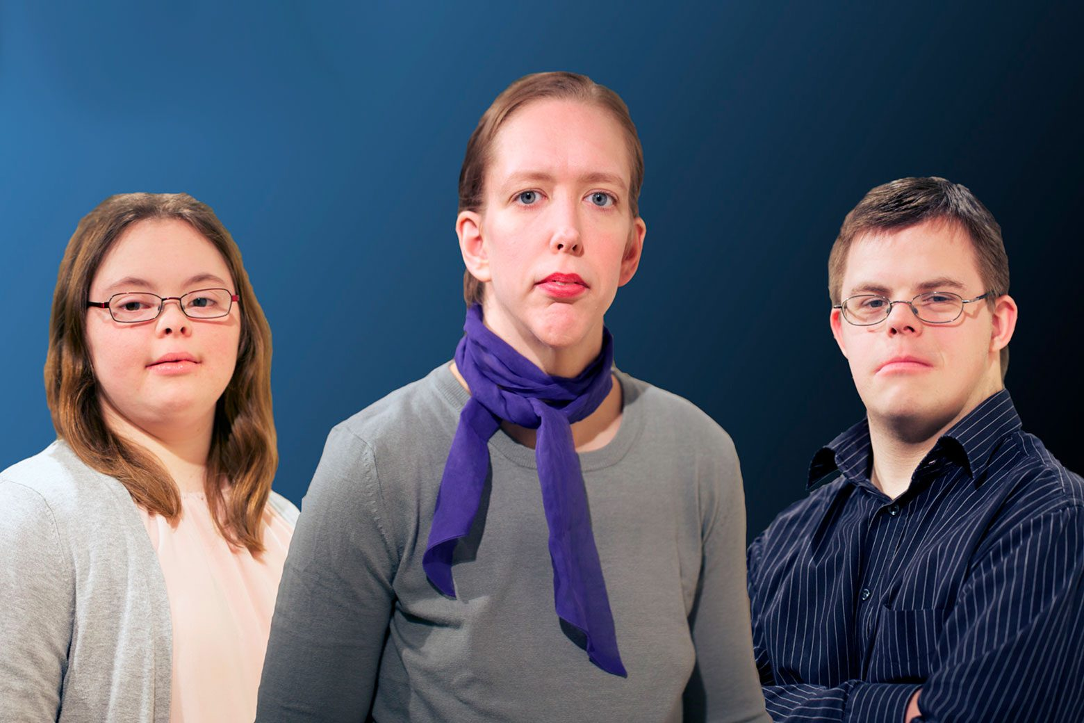 Drei Darsteller sehen in die Kamera